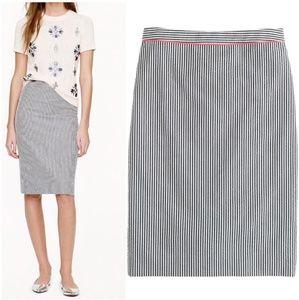 J. Crew Seersucker NO. 2 Pencil Skirt Size 00